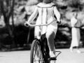 Shirley Temple rides a bike