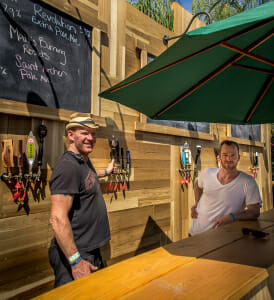 "Shane ""Mixi"" McKnight and Beau Griffin from BBC, preparing for Coachella at the Tack Room outdoor bar, where some of his signature concoctions will be served all year long."