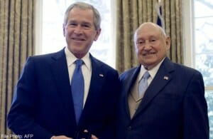 President George W. Bush bestowed the President's Call to Service Award on Cathy in 2008.