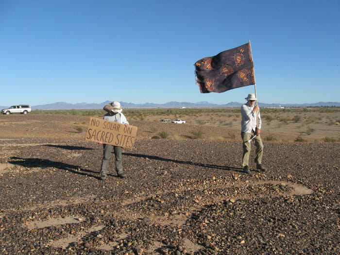 """No Solar on Sacred Sites"" - The fight to save the Blythe Intaglios. Photo courtesy of Basin and Range Watch"