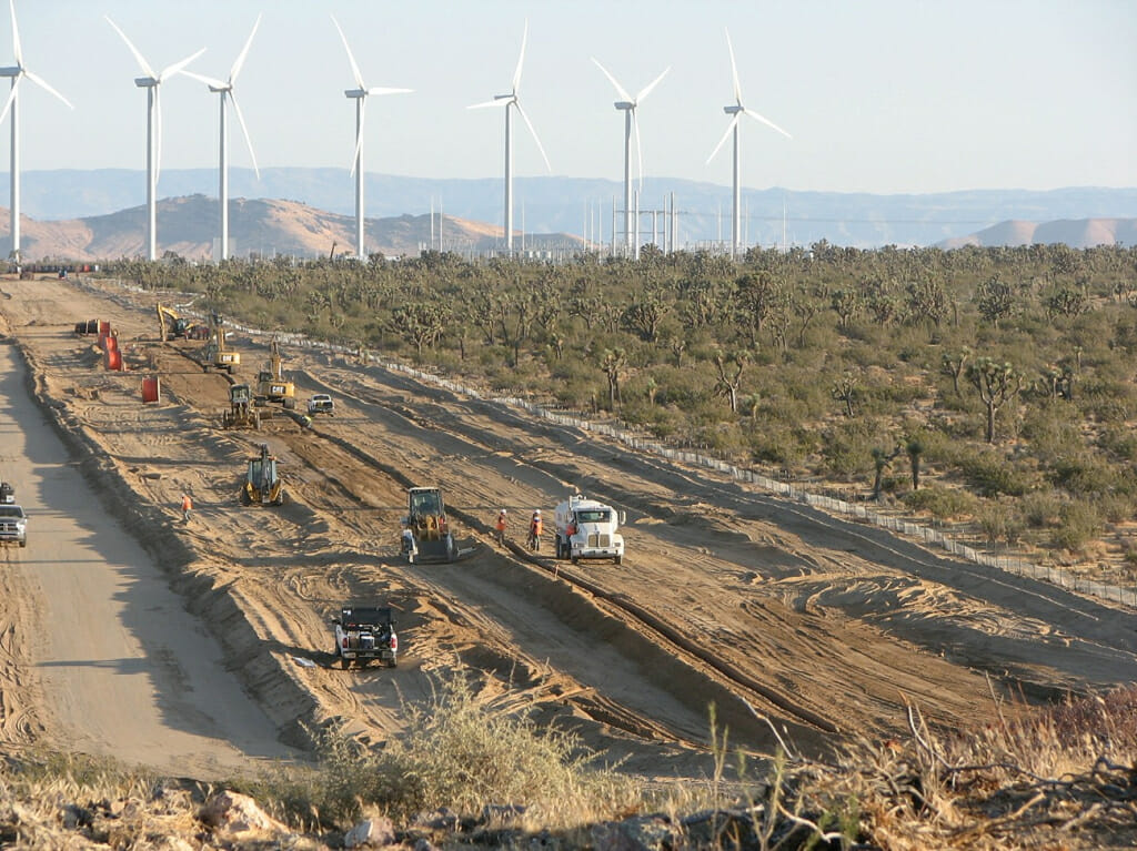 Bulldozers clear an intact desert ecosystem, including hundreds of old Joshua Trees to make way for the Alta Wind facility in the western Mojave Desert. Google is again an investor in this project. Photo courtesy of Mojave Desert Blog