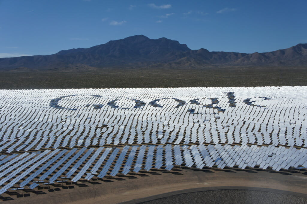 Ivanpah - The solar mirrors at Ivanpah spell out the word Google, one of three of the plants owners. Photo courtesy of Gigaom