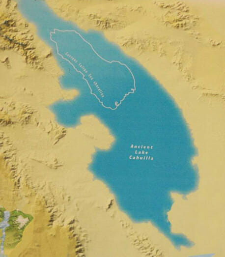 The map shows the boundaries of Lake Cahuilla and modern day Salton Sea.