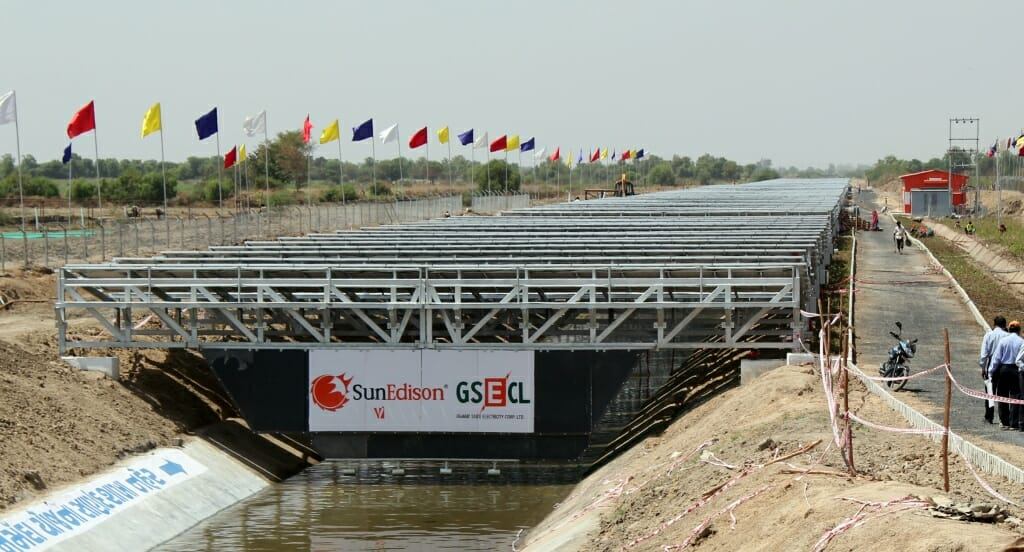 Solar Panels over the Narmada Canal in India. Photo courtesy of the Gujarat government