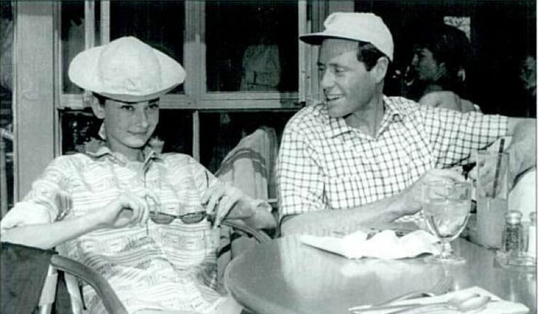 Audrey Hepburn at the Racquet Club in Palm Springs with husband Mel Ferrer. Photograph by Bill Anderson. Courtesy of Palm Springs Historical Society