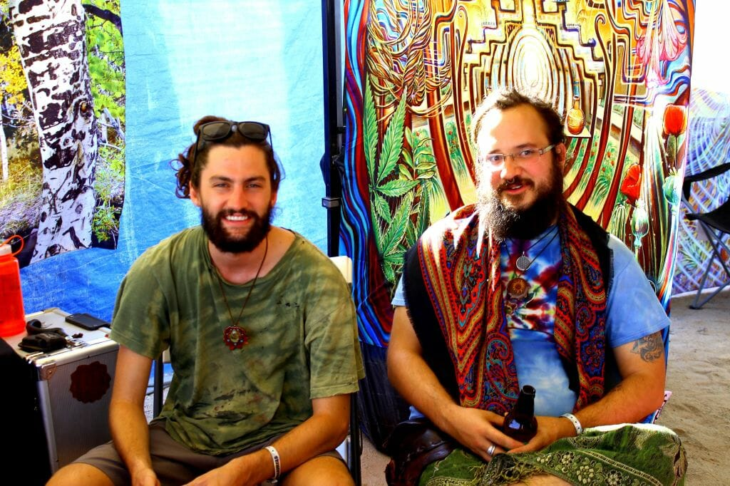 The two men are from Third Eye Pinecones booth, left Ausin; right Grahm. Affectionately called them the pinecone boys.