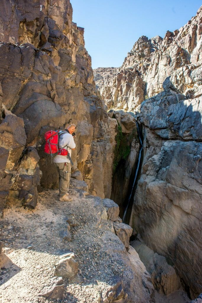 Jim at the upper waterfall of  Darwin Falls (Death Valley National Park)