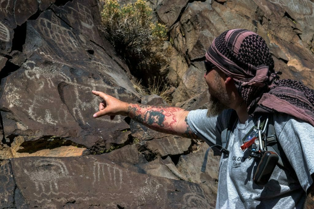 Jim points out a number of ancient petroglyphs, which may be  thousands of years old