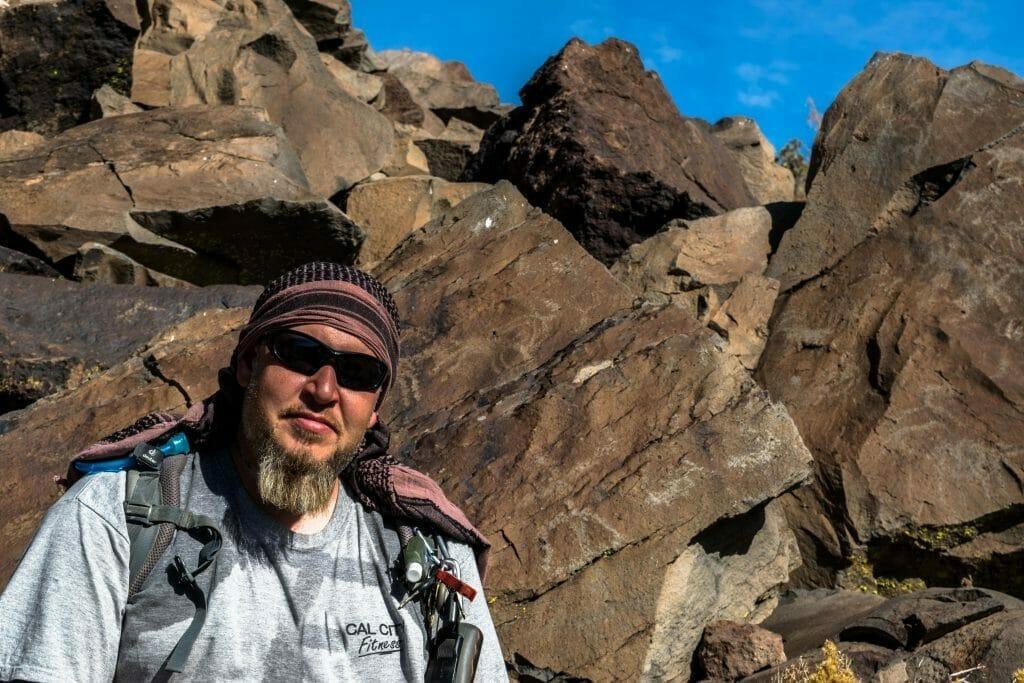 Jim with petroglyphs