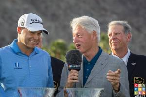 Former President Bill Clinton congratulates Bill Haas on his Humana Challenge 15' win.