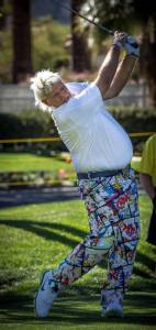 Hard to miss John Daly as he rips one down the middle of 2 at the 2014 Humana Challenge
