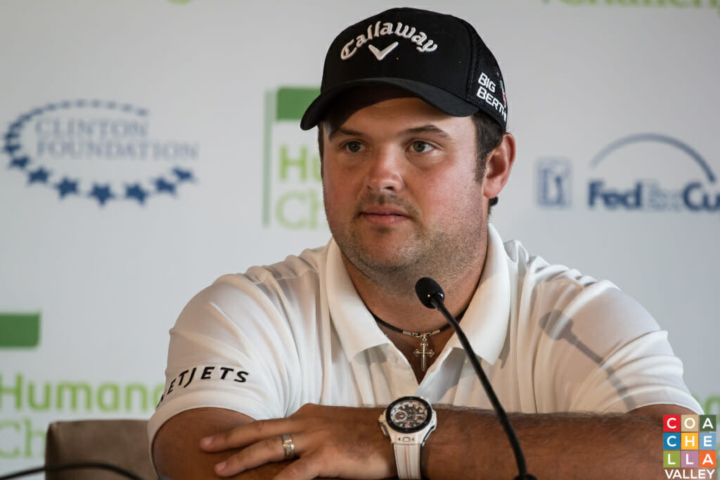 Patrick Reed, last year's winner, fielding Questions from the Press Tuesday at PGA West prior to the 2015 Humana Challenge starting Thursday, January 22, 2015