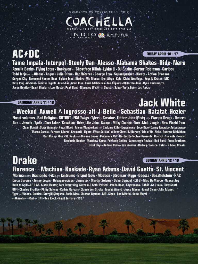 Coachella Valley Music & Art Festival 2015 Line up