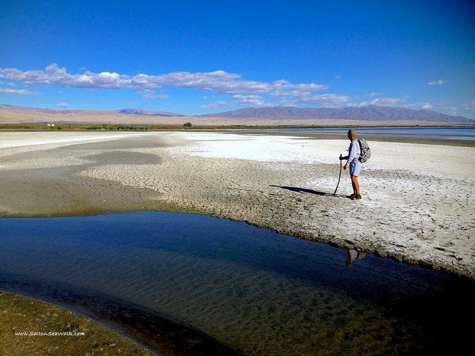 """Randy Brown """"The Walker"""" survey's the Salton Sea Shoreline in preperation for his 116 mile 6 day journery."""