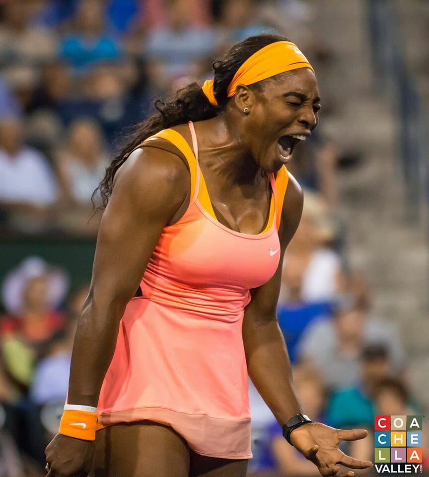 Serena Williams WINS in straight sets (7-5)(7-5) against Monica Niculescu of Romania to a sold out crowd including Larry Ellison, Bill Gates, and John McEnroe.