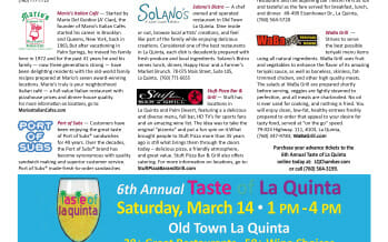 6th Annual Taste of La Quinta Saturday, March 14, 2015