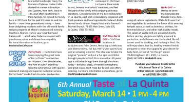 6th Annual Taste of La Quinta Saturday, March 14, 2015