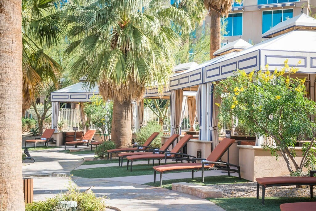 Private outdoor cabanas are also available adjacent to the pool area complete with televisions, refrigerators, and Jacuzzi.