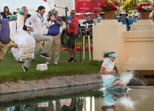 Lexi Thomas jumping winning the LPGA 2014 KNC and jumping into Poppies Pond
