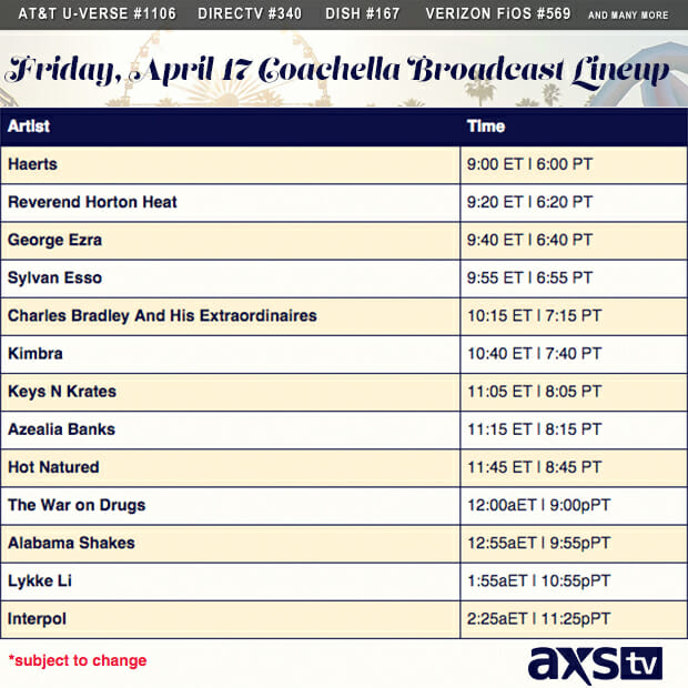AXS TV Coachella Set List Friday