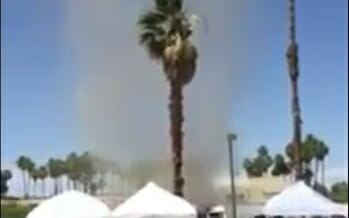 Caught on tape Dirt-Nado hitting downtown Palm Springs at the Vintage Market on Indian Canyon near Alejo