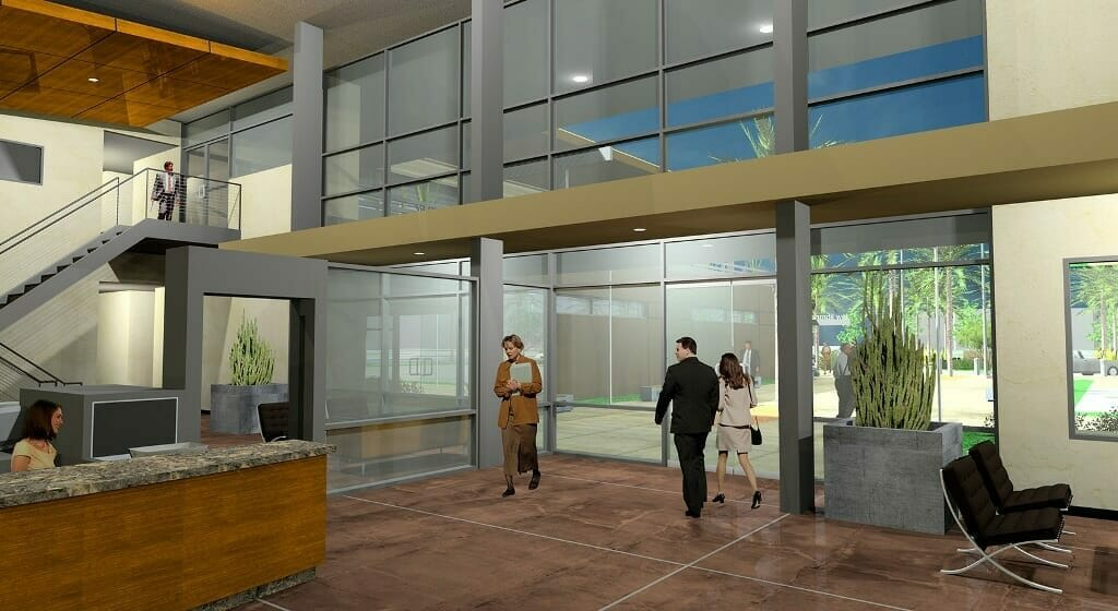 This design focused on creating a modern three-story, 90,000 s.f. building set in a campus style