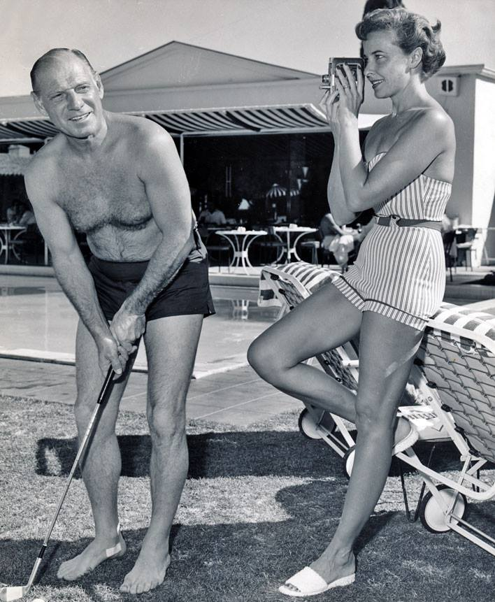 Check out this snapshot of baseball legend Leo Durocher & actress wife Laraine Day at The Colony Palms Hotel