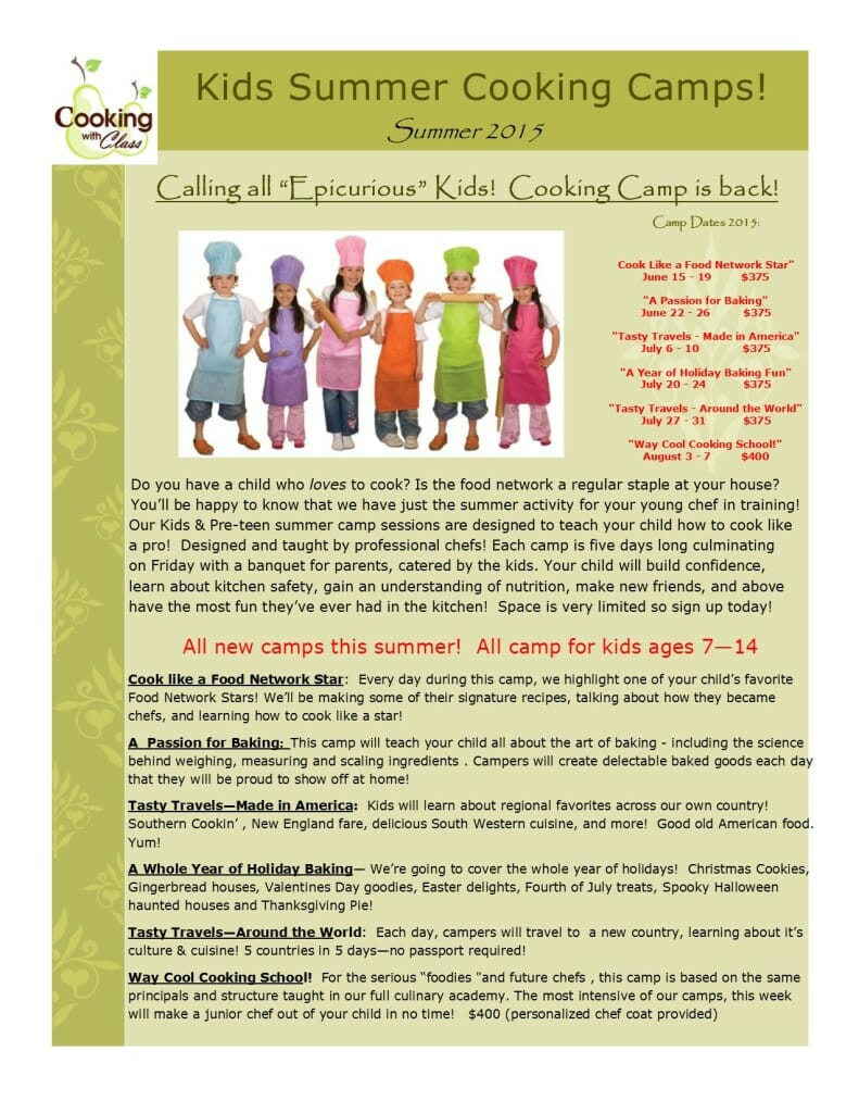 Cooking with Class Kids Summer Camp