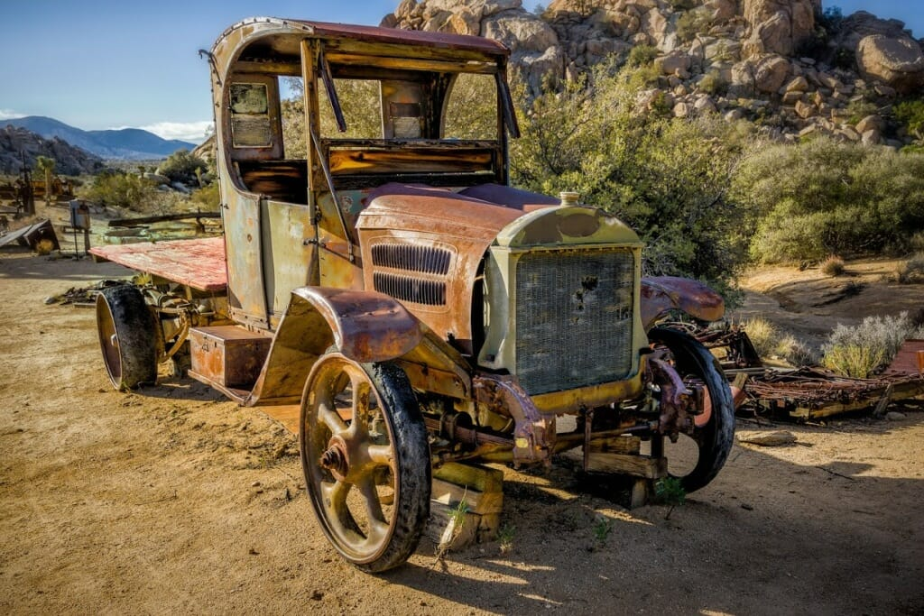 his old Mac truck had hard rubber tires and a chain drive. It is found on the Keys Ranch in Joshua Tree National Park. A few years ago Bill Keys sun got into it started it up and drove it around since then the Park Service has rendered it non operational. Bill Keys was a Miner and a Rancher. he went to jail for murder but later had a retrial and was acquitted. Erle Stanley Gardner the writer of Perry Mason was the one who fought the wrongful conviction of Bill. by John Aydelotte
