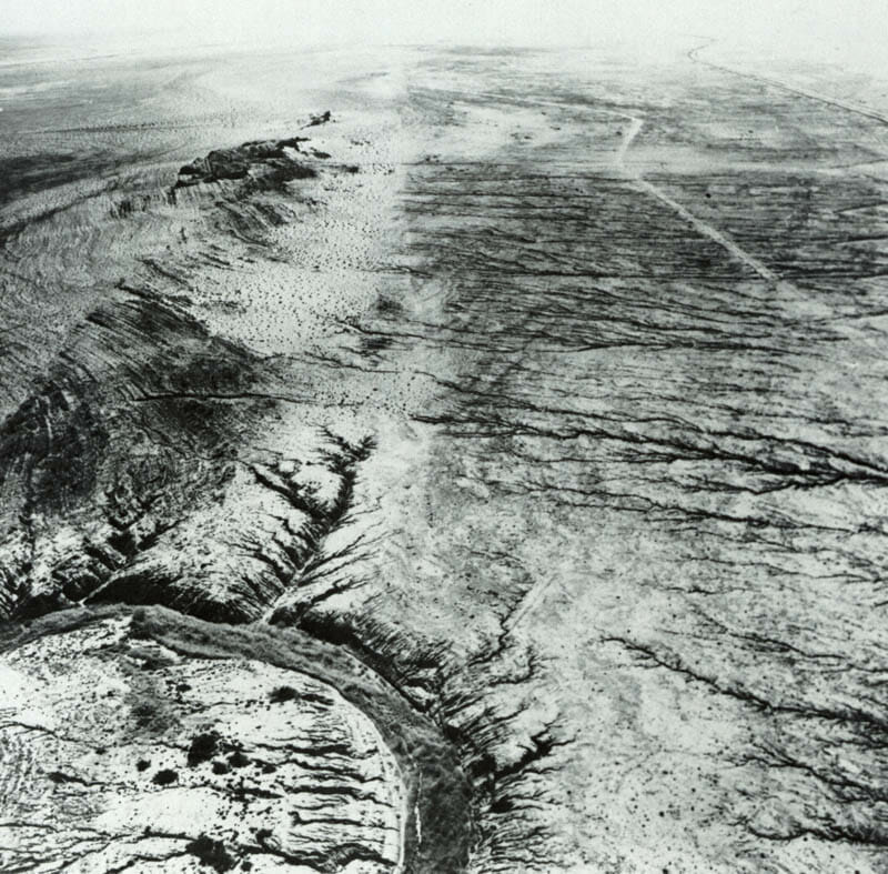 The San Andreas fault near the Salton Sea, Imperial Valley. Salt Creek is in foreground; Bat Cave Buttes are dark hills at left.
