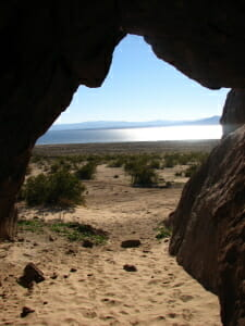 Looking out at the Salton Sea from the bat cave- Bat cave buttes. Photo S.A.