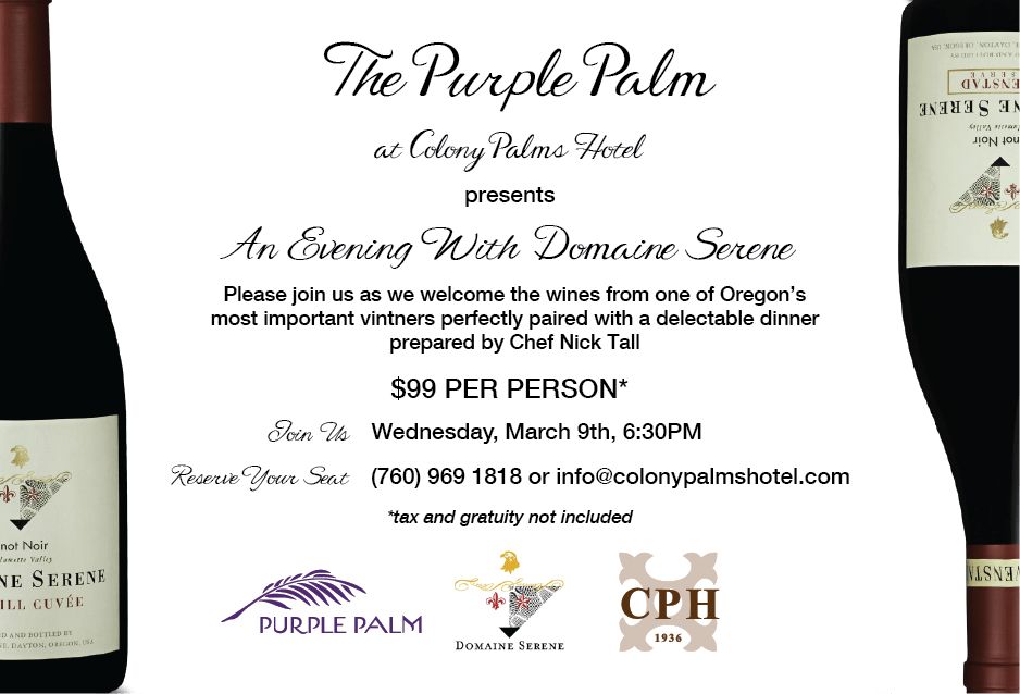 Colony Palms Wine Dinner