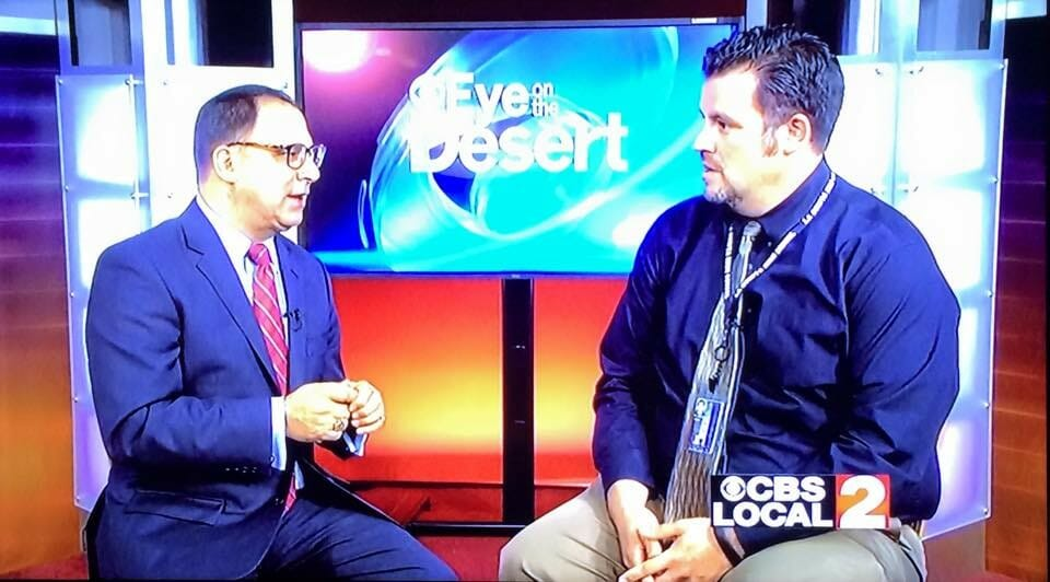 KESQ's Patrick Evans, (r.) interviews Sean Webb, (l.) on CBS Local 2 Eye on the Desert