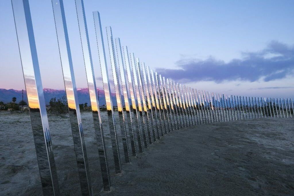 """Detail of Phillip K. Smith III's """"The Circle of Land and Sky,"""" which was part of the inaugural Desert X. (Lance Gerber / Royale Projects / Desert X)"""