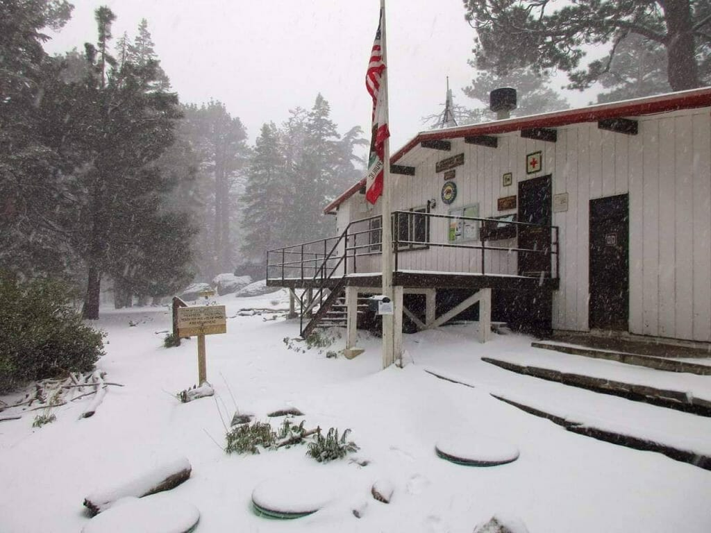 "Don't store your winter gear just yet. As of 2 pm Long Valley Ranger Station is at 2"" inches with consistent snow fall. San Jacinto Mountain State Park"