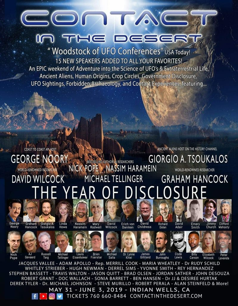 USA Today calls it the Woodstock of UFO Conferences and its landing here in Indian Wells May 31st….
