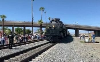 Historic steam engine Big Boy No. 4014 pulls into the Coachella Valley