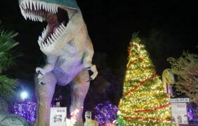Cabazon Dinosaurs Christmas in lights, arrival of Santa Claus began Friday, November 6, 2020