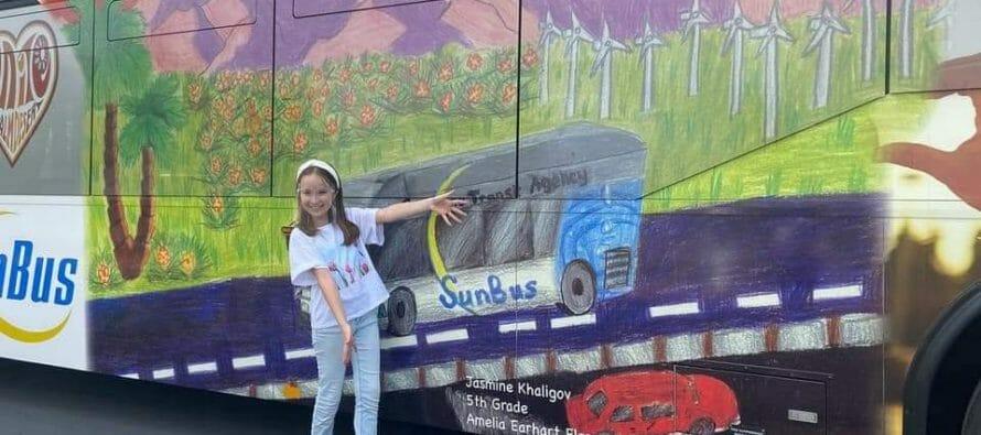 Sunline Bus Shows Off Student Art Contest Elementary Category Winner Jasmine Khaligov