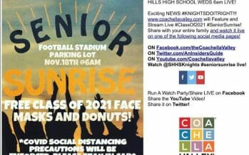 SENIOR SUNRISE TRADITION STILL SHINES AT SHADOW HILLS HIGH SCHOOL LIVE WEDS NOV 18, FOOTBALL STADIUM PARKING LOT